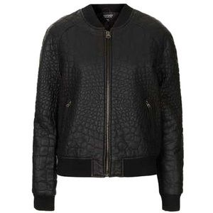 TOPSHOP Quilted Leather Bomber Jacket
